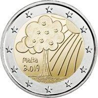 2 евро 2019 Мальта Природа и окружающая среда UNC из ролла