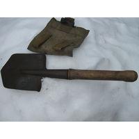 Советская малая сапёрная лопатка с КЛЕЙМОМ и брезентовым чехлом.