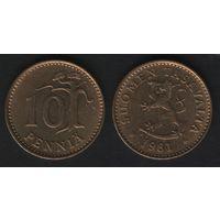 Финляндия km46 10 пенни 1981 год (K) (f35)