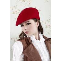 Берет красный, шерсть 100%, 56-ой размер (шапка, головной убор)
