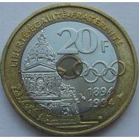1k Франция 20 франков 1994 Кубертен В ХОЛДЕРЕ распродажа коллекции