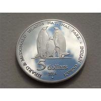 """Остров Херд и Макдональд. 5 долларов 2014 год """"Пингвины""""  UNUSUAL"""