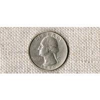 США 25 центов 1990 Р //(Ок)