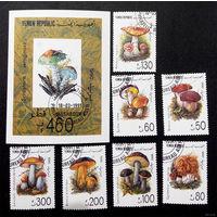 Йемен 1990 г. Грибы. Флора, полная серия из 7 марок + блок
