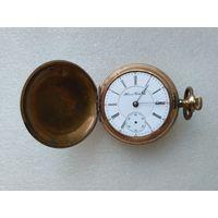 Часы карманные Иллинойс в золочении 3-х крышечник. Старинные.