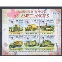 [1033] Мозамбик 2011. Санитарные и пожарные автомобили. МАЛЫЙ ЛИСТ + БЛОК.