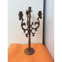 Старый медный канделябр, подсвечник на 4 свечи 50 см