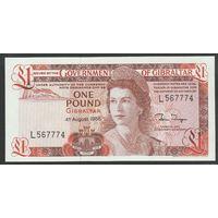 Гибралтар 1 фунт 1988 года. Вариант подписей 4. Состояние UNC!