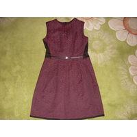 Бордовое платье для учёбы или в офис 44-й размер