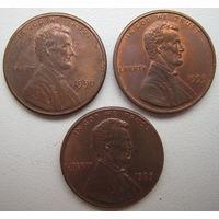США 1 цент 1990, 1993, 1995 гг. Цена за 1 шт.