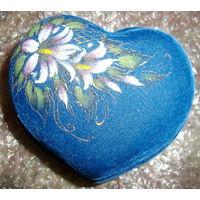 Красивая шкатулка синяя с цветком, новая, для драгоценностей