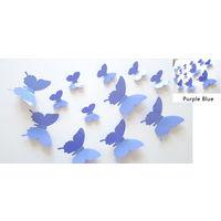 Декор - бабочки 3D из ПВХ глянцевые, посадка на двухсторонний скотч (в комплекте), комплект 12 штук. (21)