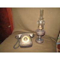 С 1 рубля!Лампа керосиновая и телефон интерьерные.