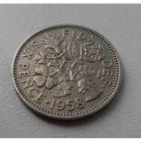 6 пенсов Великобритания 1958 г.в. KM# 903, 6 PENCE, из коллекции