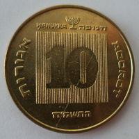 "Израиль 10 агорот 1985 ""Менора"" (Ханука сверху над номиналом) KM# 173"
