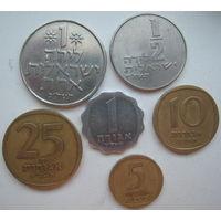 Израиль  1, 5, 10, 25  агора, 1/2, 1 лира 1960-1980 гг. Набор (u)