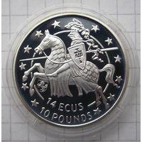 Гибралтар 14 ЭКЮ 1992 Рыцарь - серебро 10 гр. 0,925 - редкая, тираж не известен!