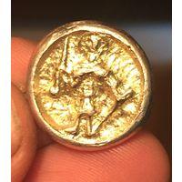 Перстень 14-15 век святой воин с нимбом