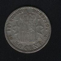 Испания 50 сентимо 1900 г. Серебро. XF.