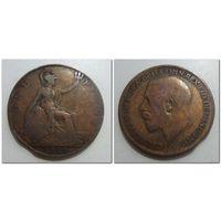1 пенни Великобритания 1921 год, KM# 810 PENNY, из мешка
