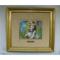 Пьер Огюст Ренуар. Девушка в шляпе. Горячая эмаль. Сертификат. 31 х 34 см.