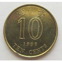 ГОНКОНГ, Протекторат Китая (после 1997)10центов1998г. KM# 66