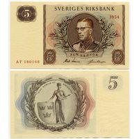 Швеция. 5 крон (образца 1954 года, P42a, UNC)
