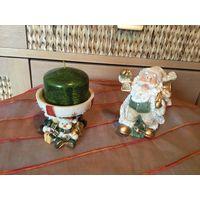 Новогодние украшения Дед Мороз и Подсвечник