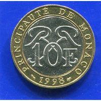 Монако 10 франков 1998 , биметалл