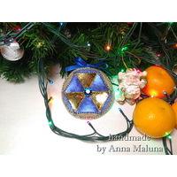 Мягкая елочная игрушка с кристаллом Сваровски