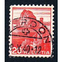 25: Швейцария, почтовая марка, 1936 год, номинал 20с, SG#375A