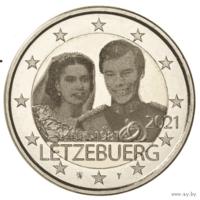2 евро 2021 Люксембург 40 лет Свадьбы UNC из ролла фото