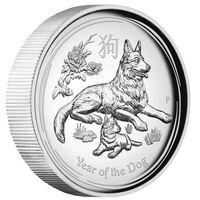 """Австралия 1 доллар 2018г. Австралийская лунная серия II: """"Год Собаки"""". Высокий рельеф. Монета в капсуле; подарочном футляре; номерной сертификат; коробка. СЕРЕБРО 31,107гр.(1 oz)."""
