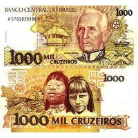 Бразилия 1000 крузеиро образца 1990 года UNC p231c