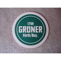 """Подставка под пиво (бирдекель) """"Gruner"""" (Германия)."""