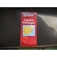 Испания, Португалия. План-схема, карта на испанском большая.