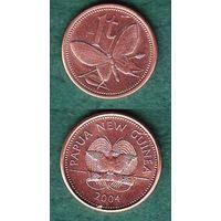 Папуа Новая Гвинея,монета  1 тойя 2004, бабочка