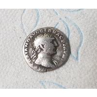 Денарий 108 г.н.э. Траян. 103-111 гг. Древний Рим. Аеквитас стоит лицом налево, держит весы и рог изобилия. Ref.: BMC 281, RIC 118, St 144 Trajan Denarius. 103-111 AD. IMP TRAIANO AVG GER DAC PM TRP,