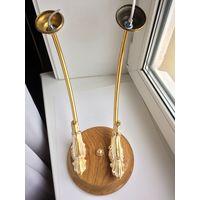 Настенный двухрожковый светильник, Бра. Латунь, эмаль, Дуб
