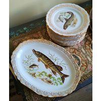 Сервиз набор состав посуды для рыбы Лимож Limoges Франция фарфор высококо качества позолота 14 предметов