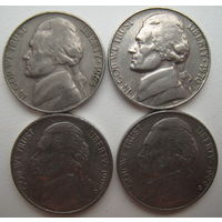 США 5 центов 1964, 1970 (D), 1992 (D), 1999 (D) гг. Цена за 1 шт.