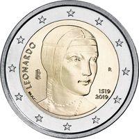 2 Евро Италии 2019 500 лет со дня смерти Леонардо да Винчи UNC из ролла