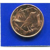 Каймановы острова 1 цент 1999 UNC