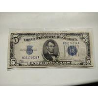 Купюра 5$ 1934 С года. Синяя печать.