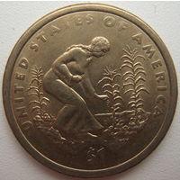 США 1 доллар 2009 г. Индианка, выращивающая трёх сестёр (тыкву, кукурузу, фасоль)