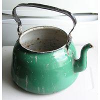 Чайник зеленый эмалированный