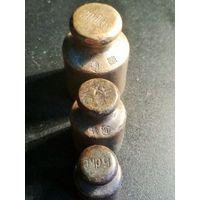 Гири старые Польша бронза латунь аптечные торговые, гирьки, клейма, 200, 100, 50 гр. (11)