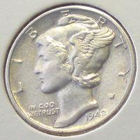 США, 1 дайм (10 центов) 1942 года, Меркурий, KM# 140, Ag 900/ 2,5 грамма