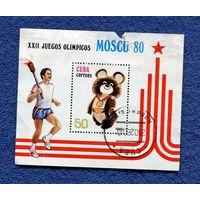 Марка Олимпийский мишка 1980г. Куба