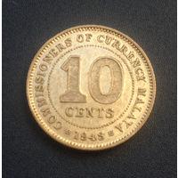 Малайя Британская колония 10 центов 1943 серебро